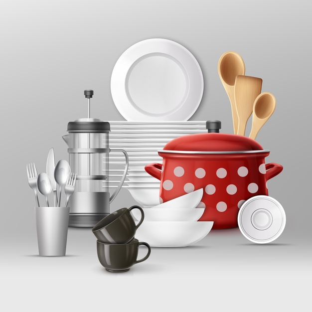 set of kitchenware dishes cooking utensils