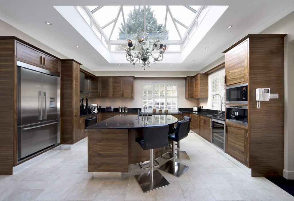 Huge walnut cabinet and island kitchen design image