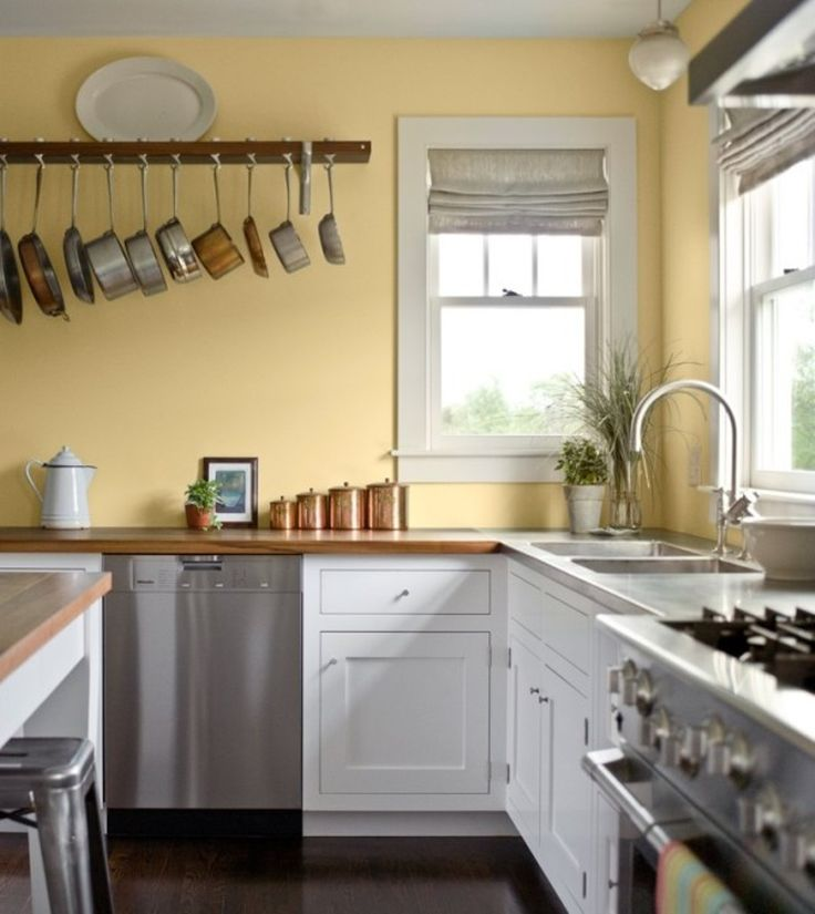 light yellow kitchen color ideas with white cabinet