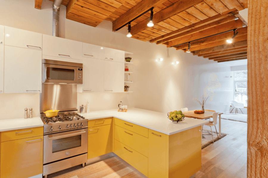 Dual tone yellow kitchen color idea