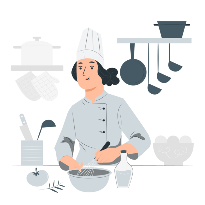 chef with kitchen tools and utensils