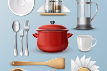 kitchenware, dishes and cooking utensils set
